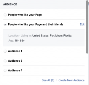 Facebook Boost options